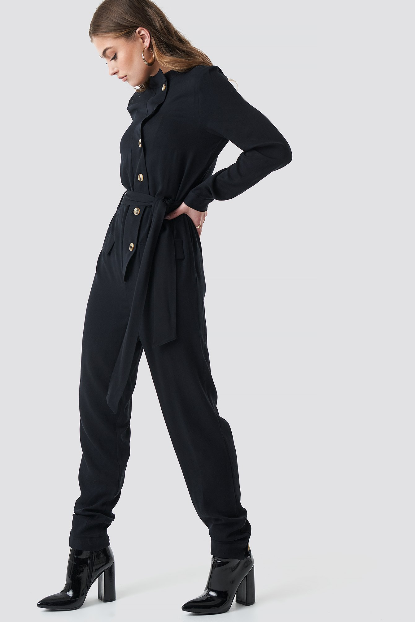 na-kd -  Tie Waist Button Up Jumpsuit - Black