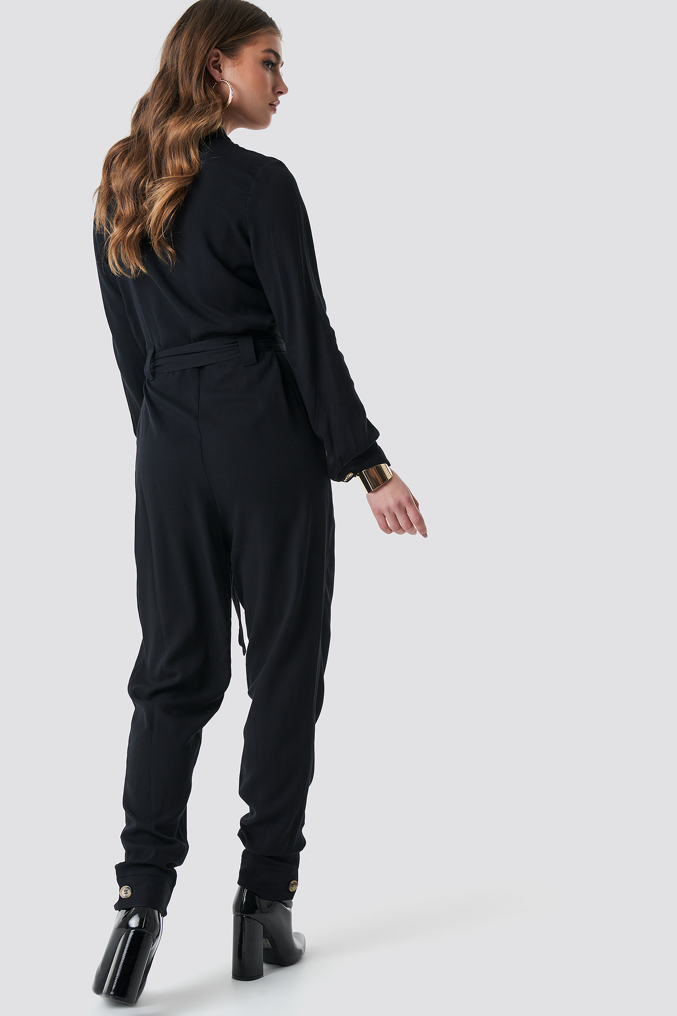 Tie Waist Button Up Jumpsuit NA-KD.COM