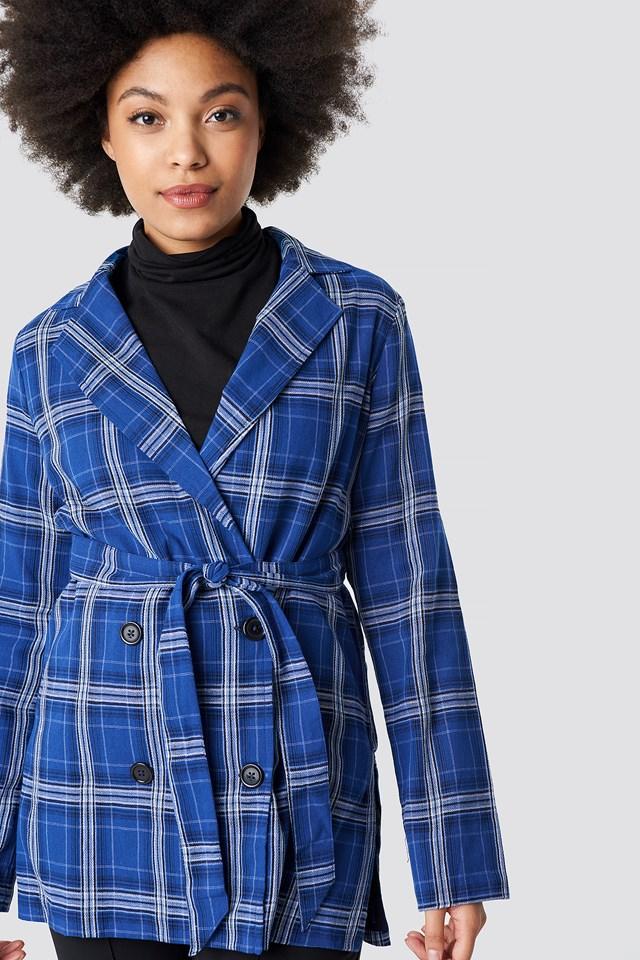 Tie Waist Checkered Blazer NA-KD.COM