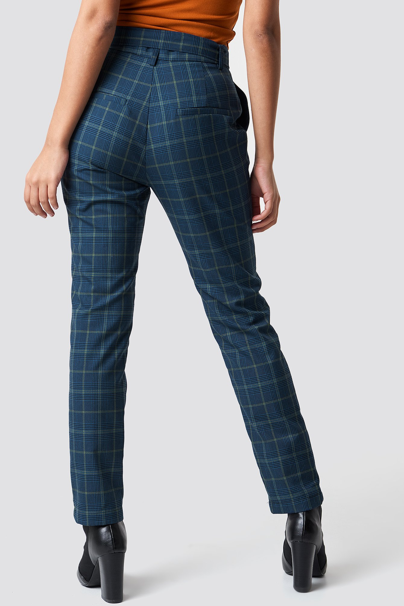 Tie Waist Checked Suit Pants  NA-KD.COM