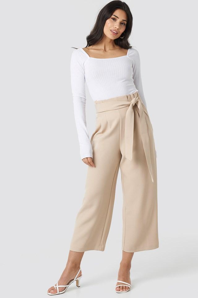 Tie Waist Cropped Wide Pants Beige