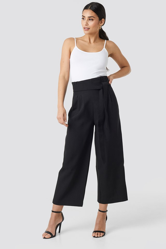 Tie Waist Cropped Wide Pants Black