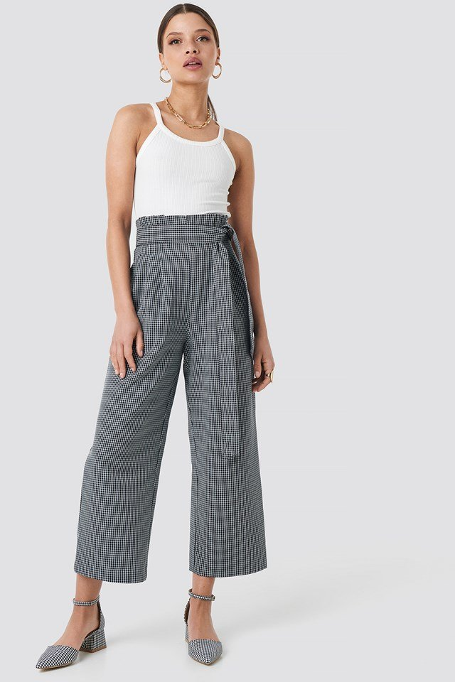 Tie Waist Cropped Wide Pants Checked