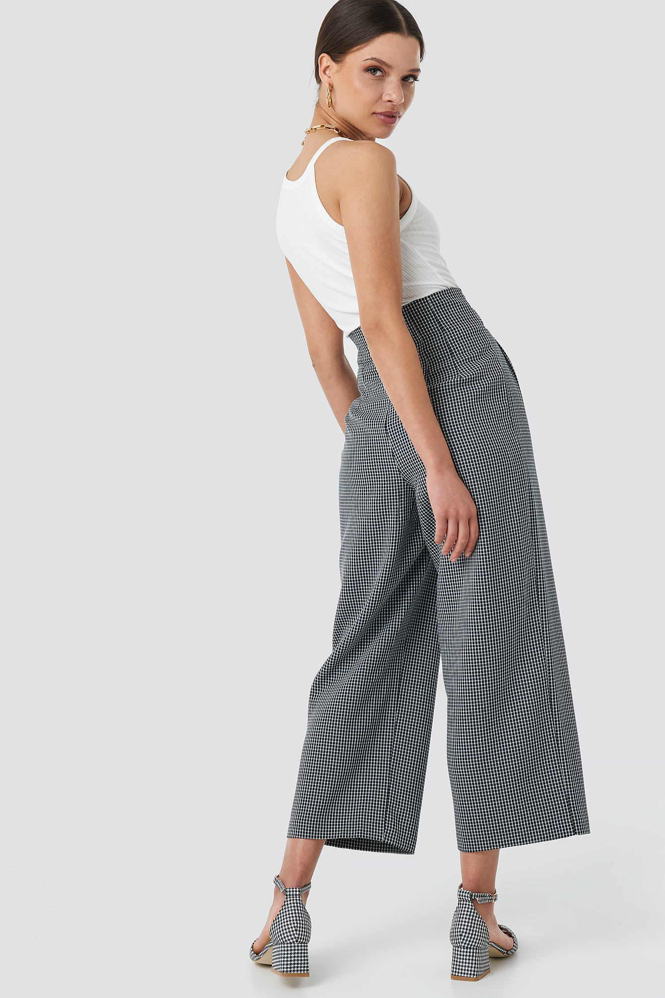 Tie Waist Cropped Wide Pants NA-KD.COM