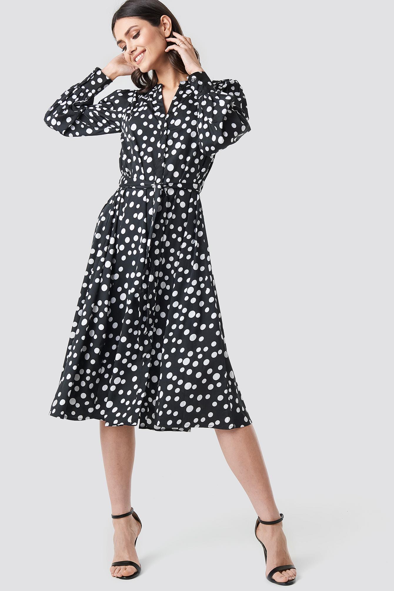Tie Waist Dotted Shirt Dress NA-KD.COM