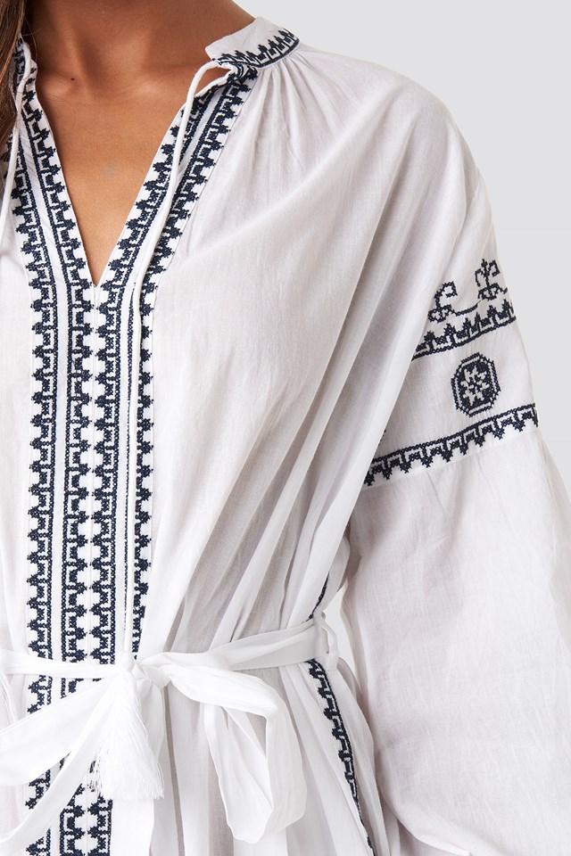 Tie Waist Embroidery Maxi Dress White