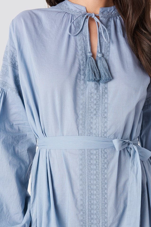 Tie Waist Embroidery Maxi Dress Light Blue