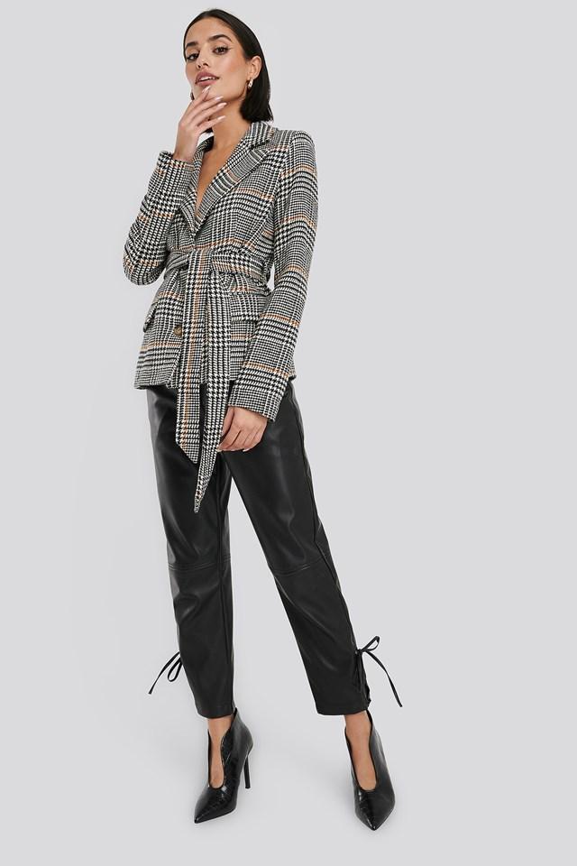 Tie Waist Herringbone Blazer Black/White Check