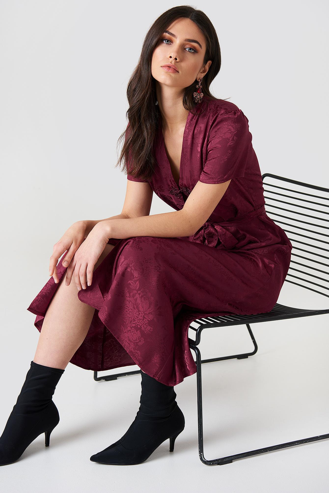na-kd boho -  Tie Waist Jacquard Satin Dress - Red,Purple