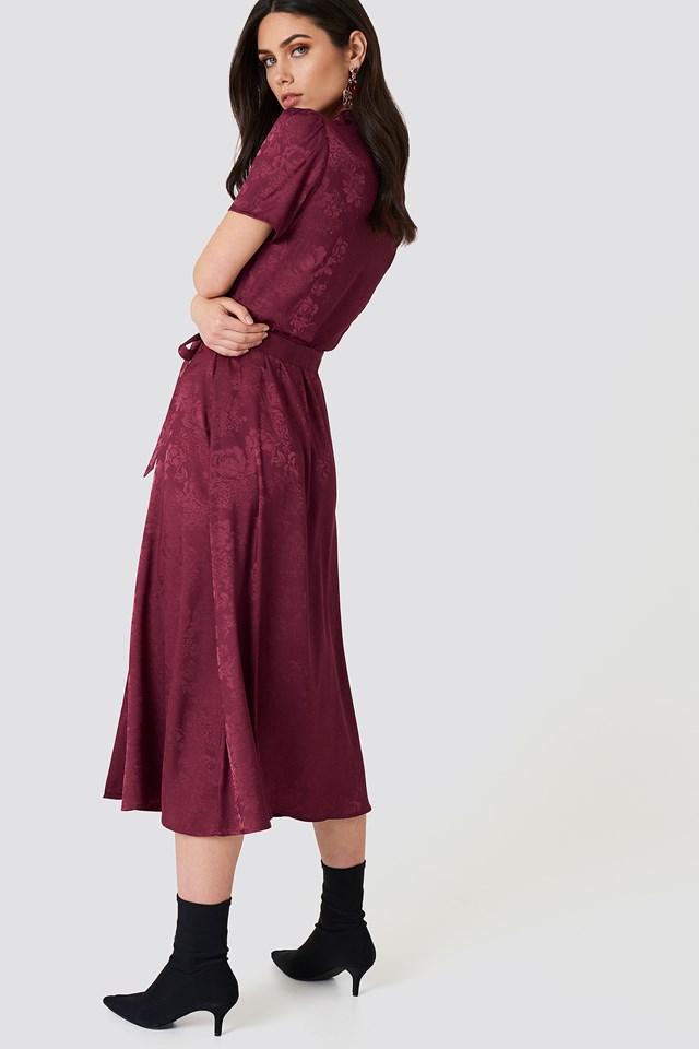 Tie Waist Jacquard Satin Dress NA-KD.COM