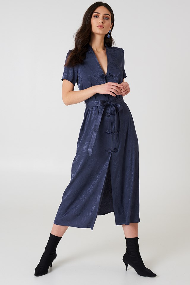 Tie Waist Jacquard Satin Dress Midnight Blue