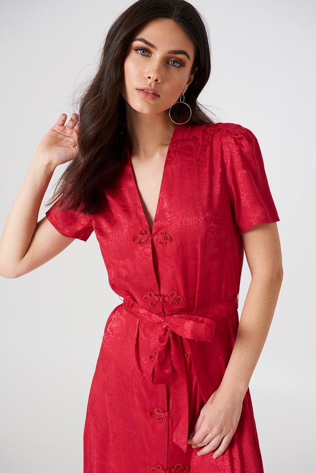 Tie Waist Jacquard Satin Dress Cherry
