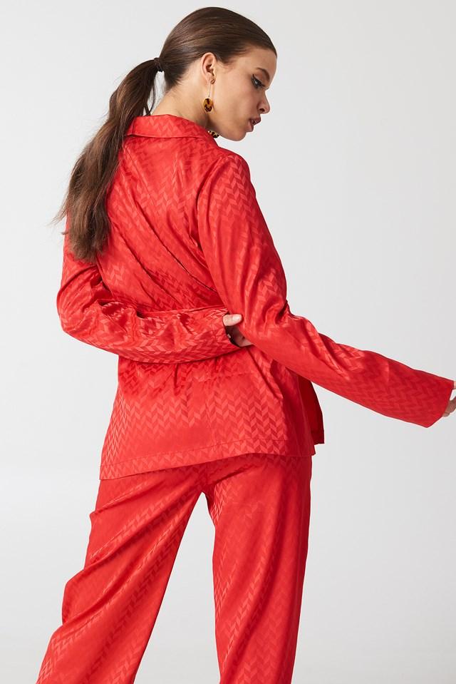 Tie Waist Jacquard Blazer Red