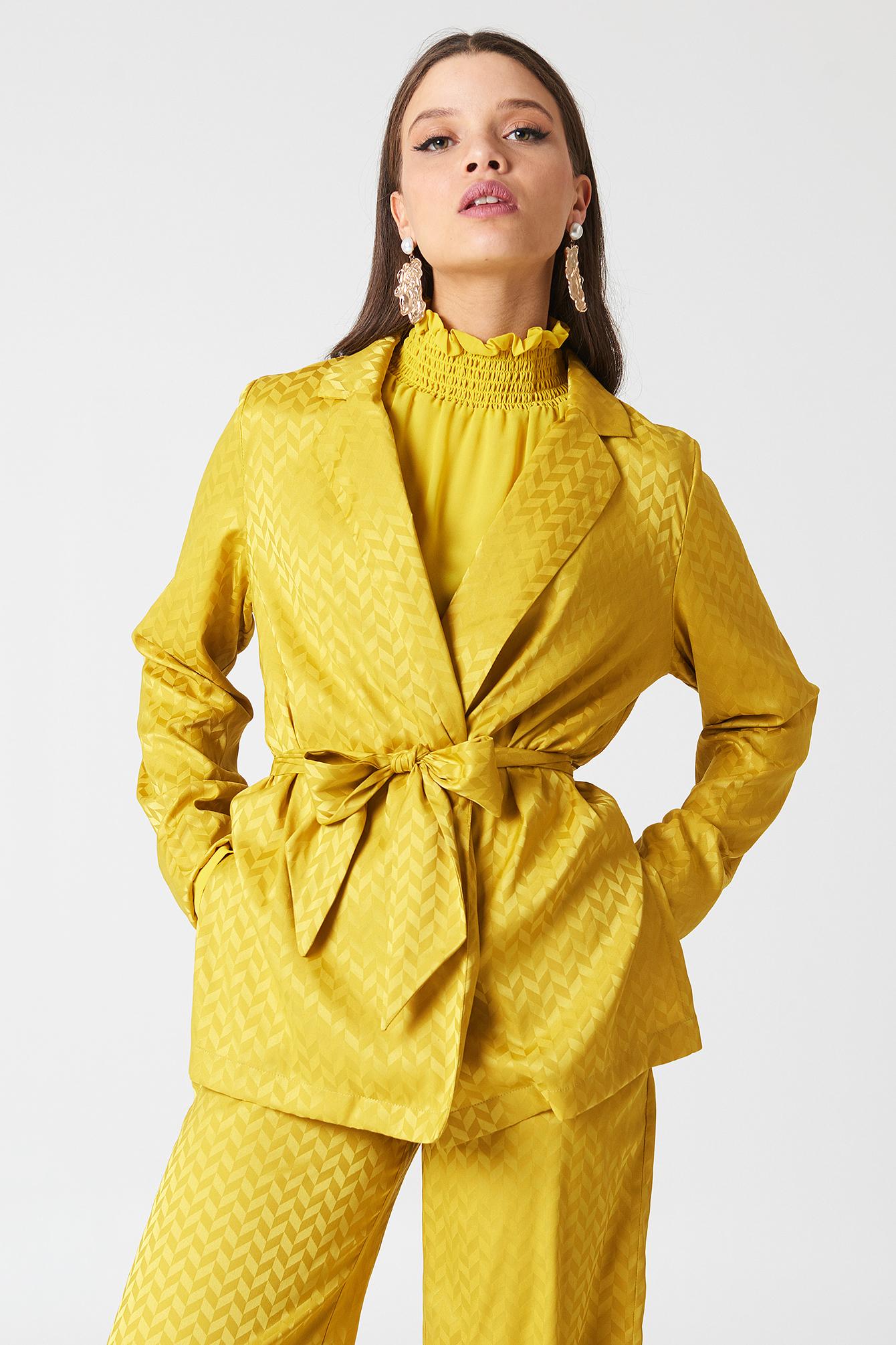 na-kd -  Tie Waist Jacquard Blazer - Yellow
