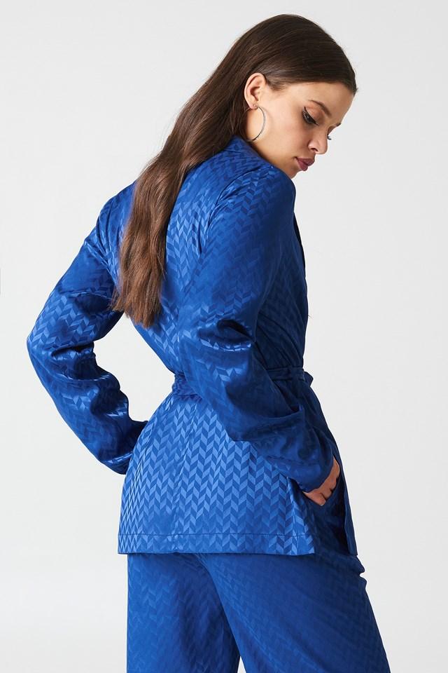 Tie Waist Jacquard Blazer Dark Blue