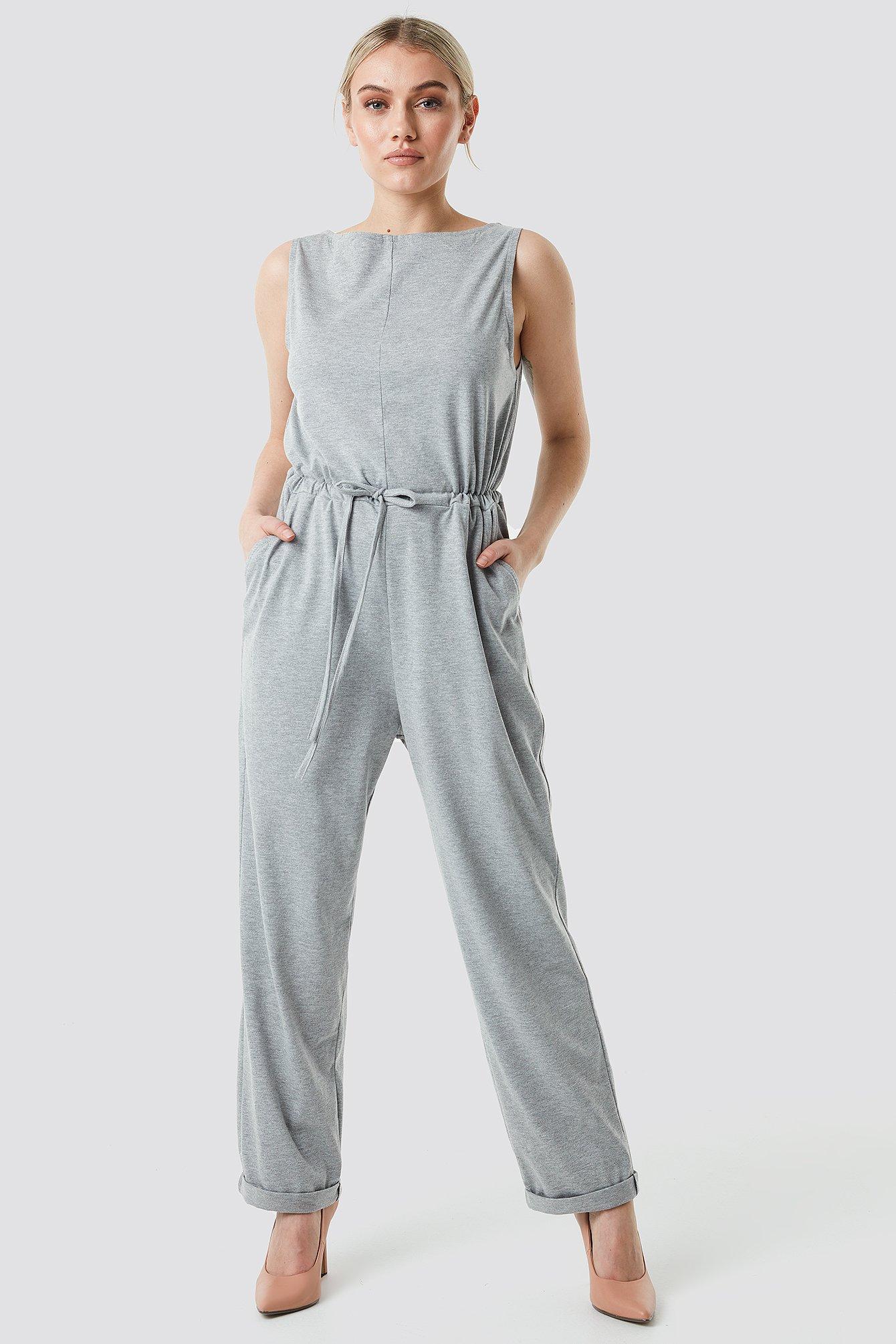 Tie Waist Jersey Jumpsuit NA-KD.COM