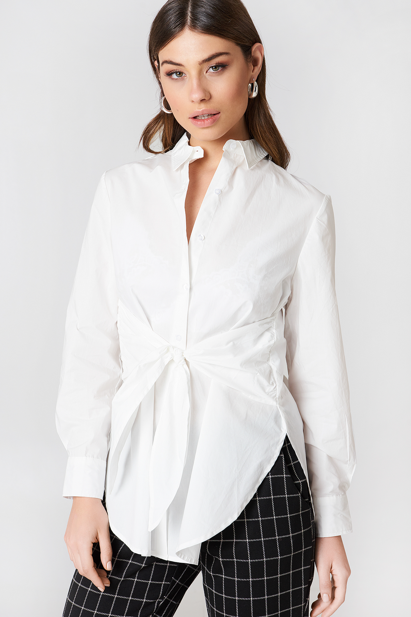 na-kd classic -  Tie Waist Long Shirt - White