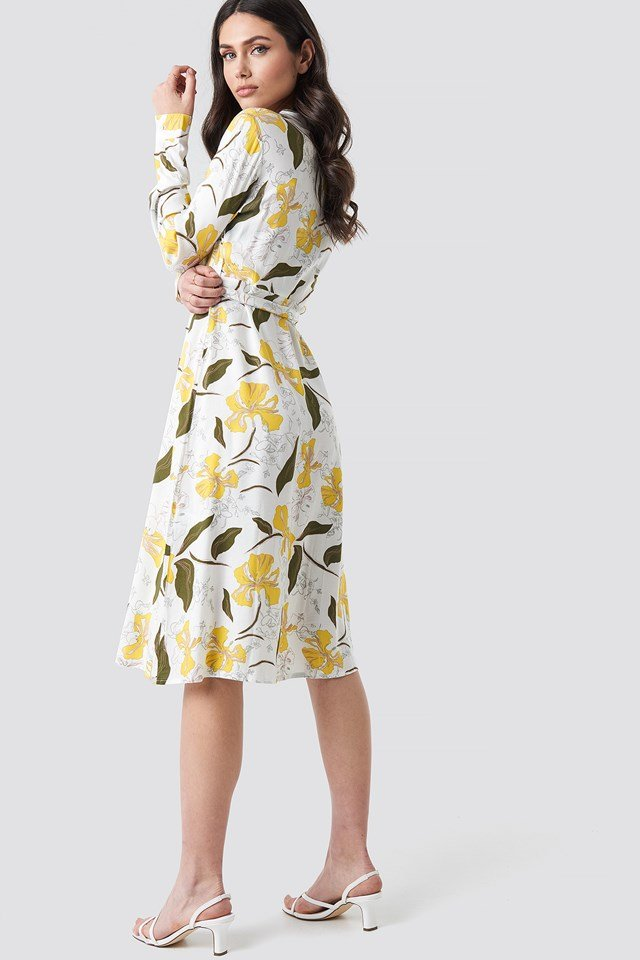 Tie Waist Midi Dress Yellow Flower