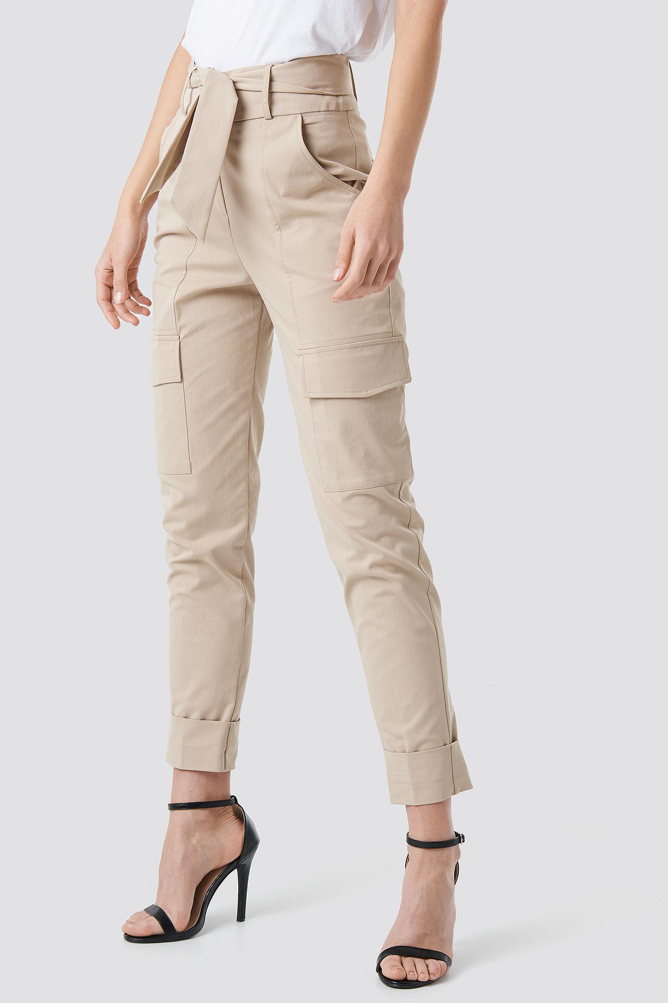 Tie Waist Patch Pocket Pants NA-KD.COM