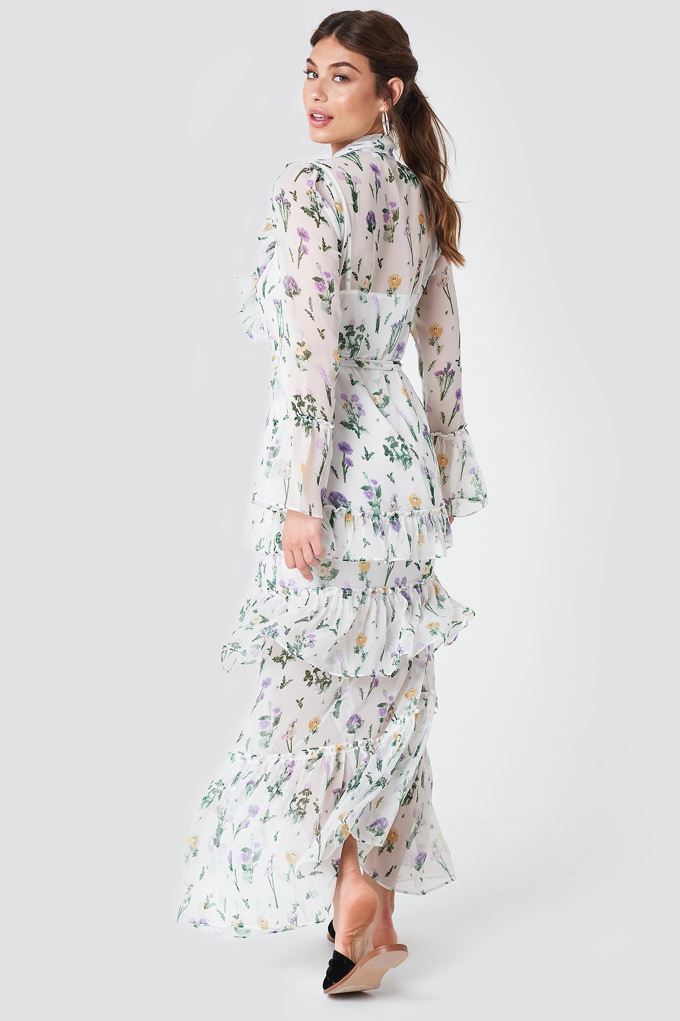 Tie Waist Ruffle Maxi Dress NA-KD.COM