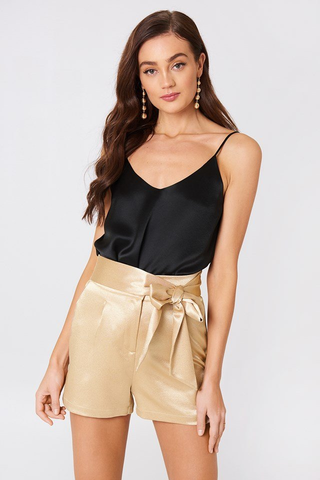 Tie Waist Satin Shorts Gold