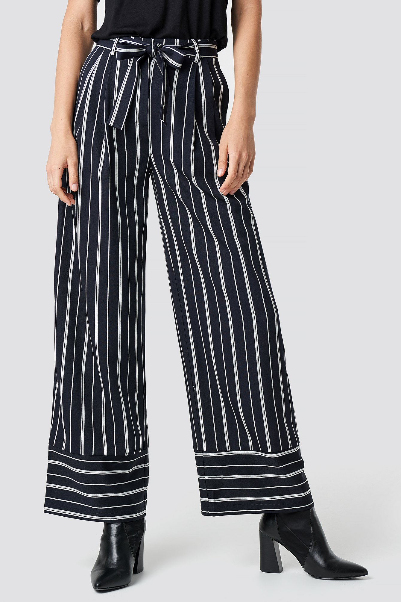 Tie Waist Striped Wide Pants NA-KD.COM