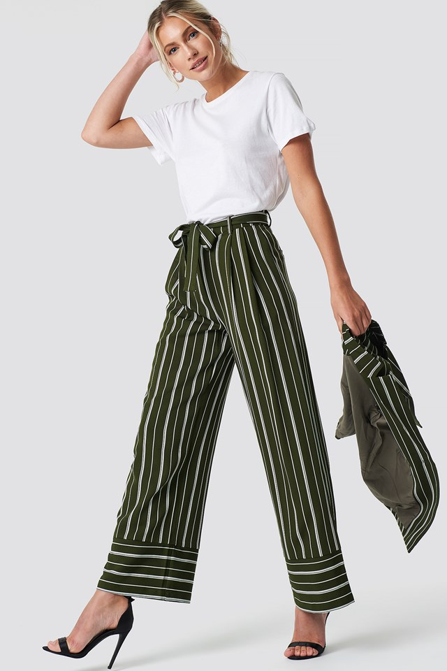 Tie Waist Striped Wide Pants NA-KD Classic