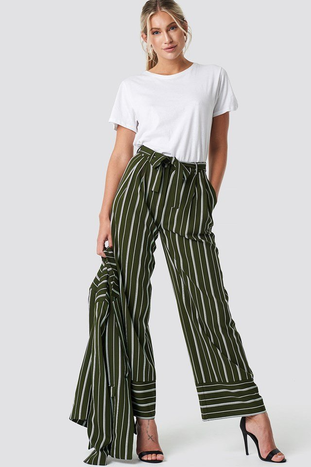 Tie Waist Striped Wide Pants Dark Green