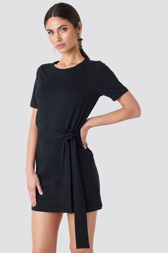 Tie Waist T-shirt Dress Deep Black