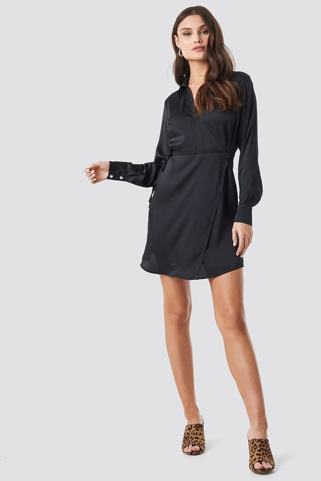 Tie Waist Wrap Mini Dress Black