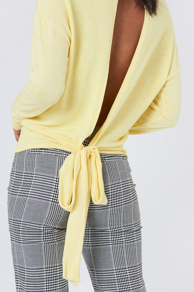 Tied Back Detail Sweater Light Yellow