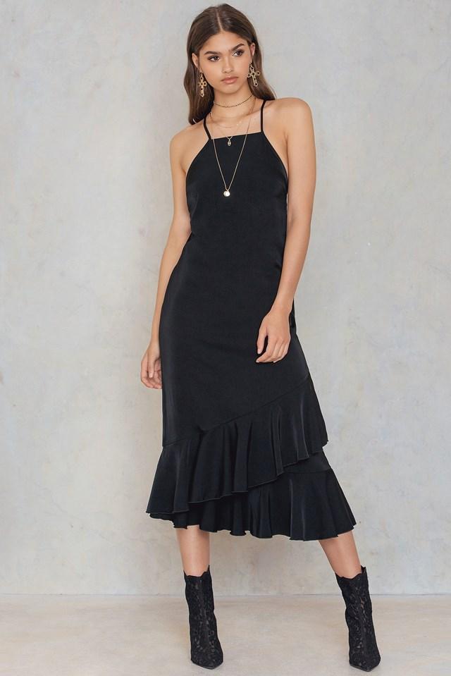 Tied Back Lace Detail Maxi Dress Black
