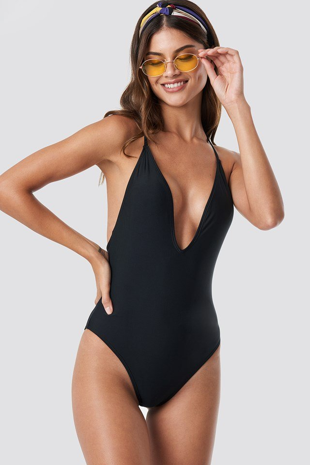 Tied Back Plunge Swimsuit Black