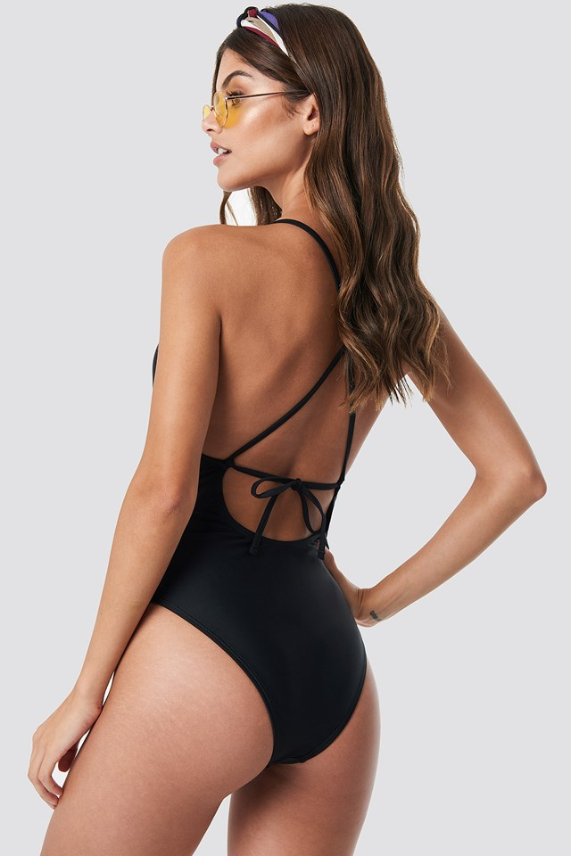 Tied Back Plunge Swimsuit Black