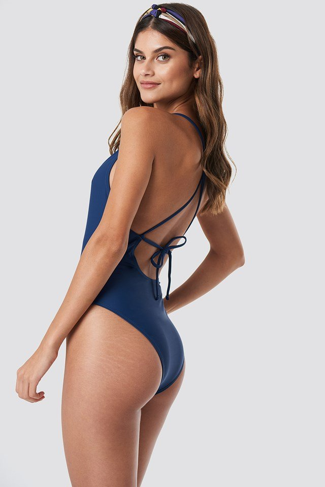 Tied Back Plunge Swimsuit Dark Blue