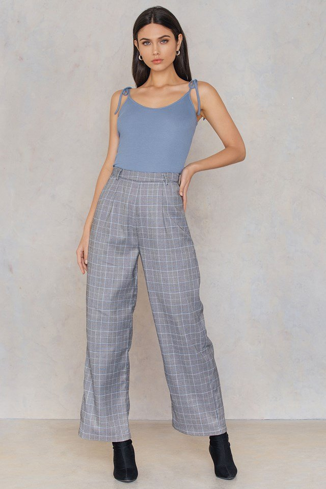 Tied Band Ribbed Singlet Dusty Blue