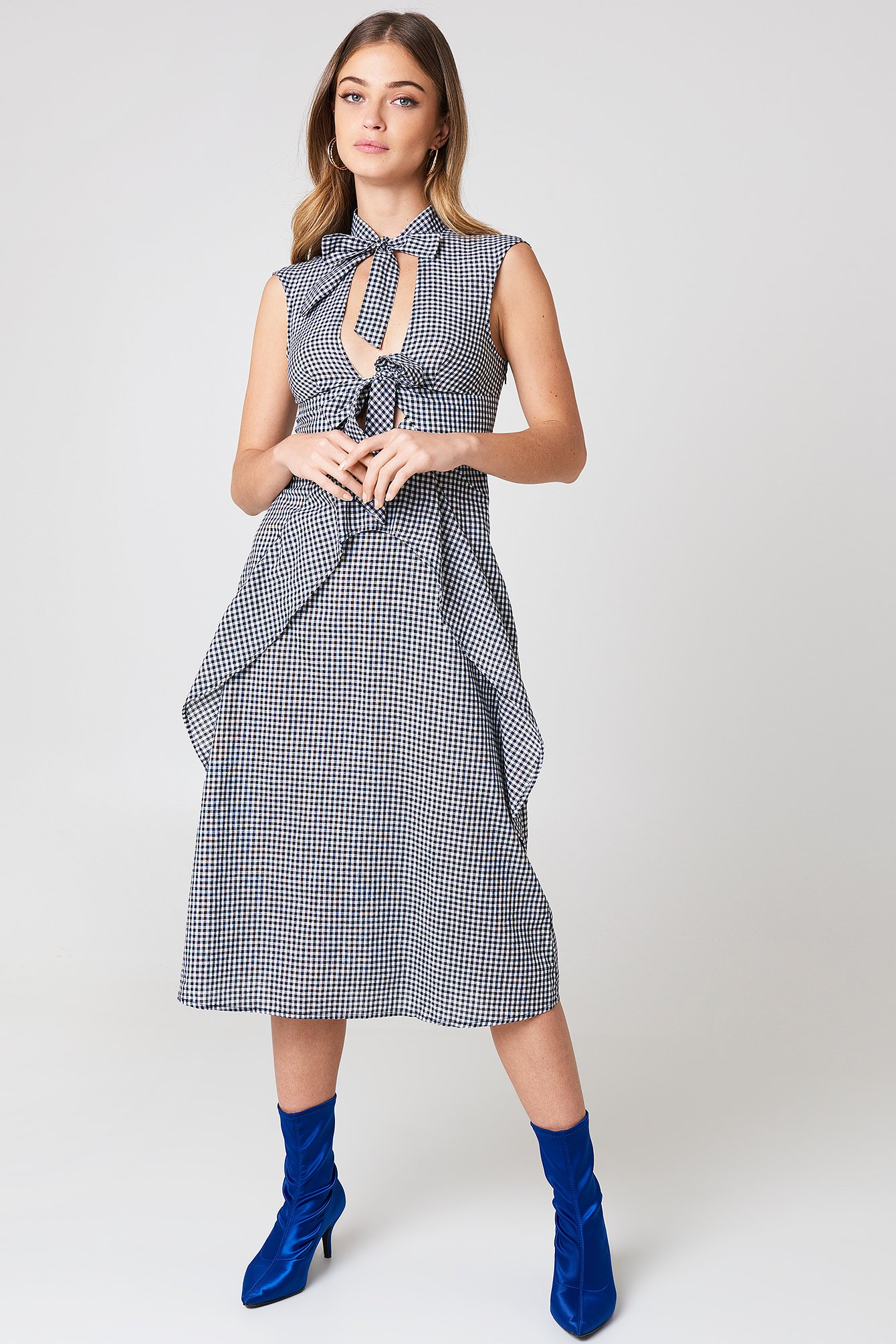 Tied Detail Gingham Dress NA-KD.COM