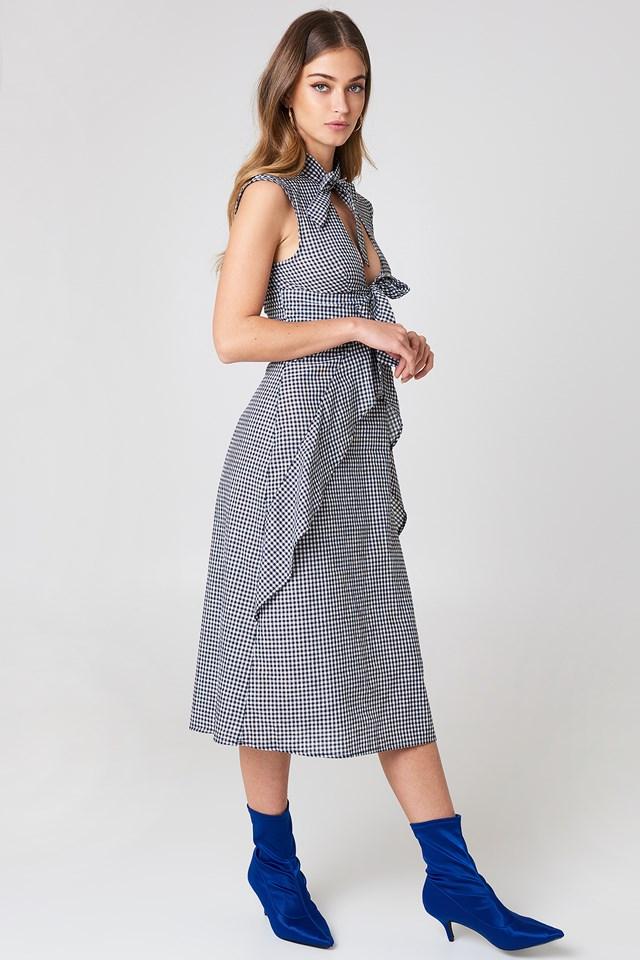 Tied Detail Gingham Dress Gingham