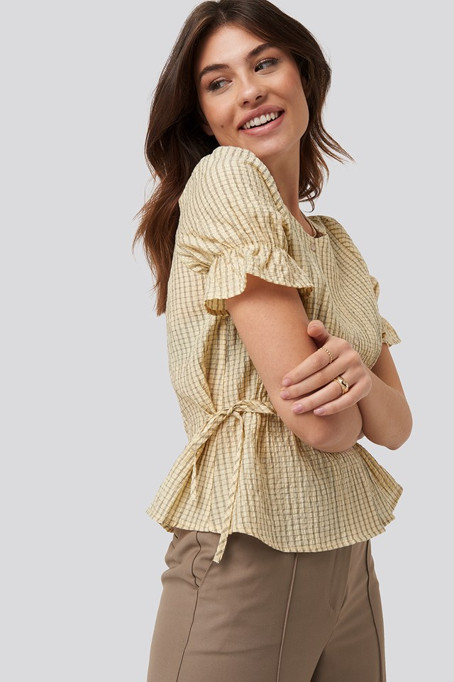 Tied Detail Puff Sleeve Blouse Cream
