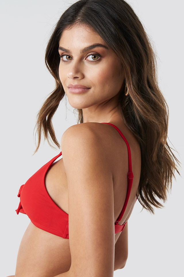 Tied Front Bikini Top Red