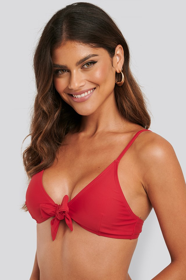 Tied Front Bikini Top Red