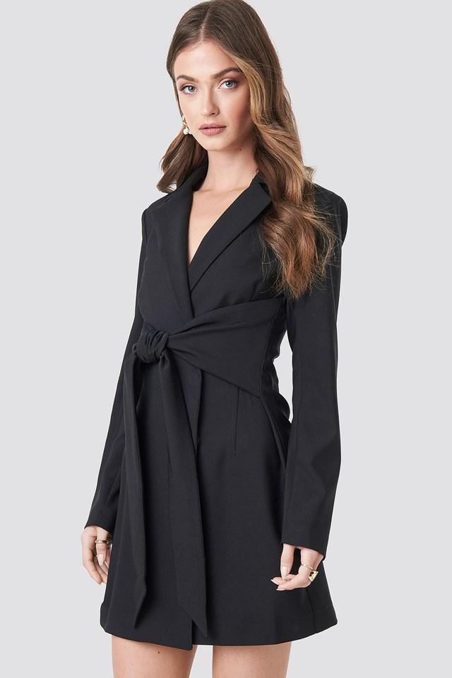 Tied Front Blazer Dress Black