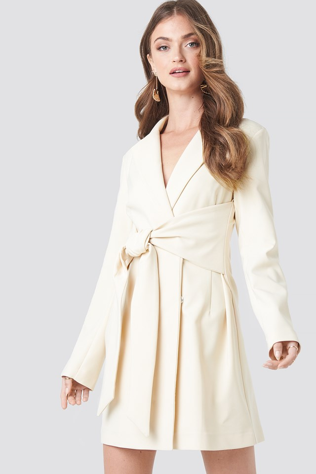 Tied Front Blazer Dress Offwhite