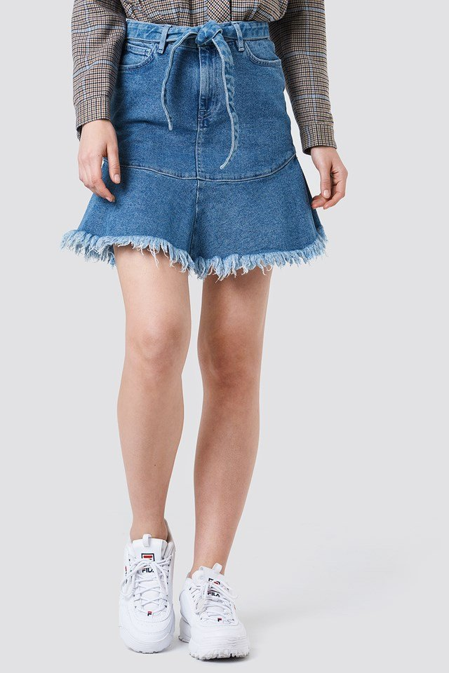 Tied Front Denim Skirt NA-KD.COM