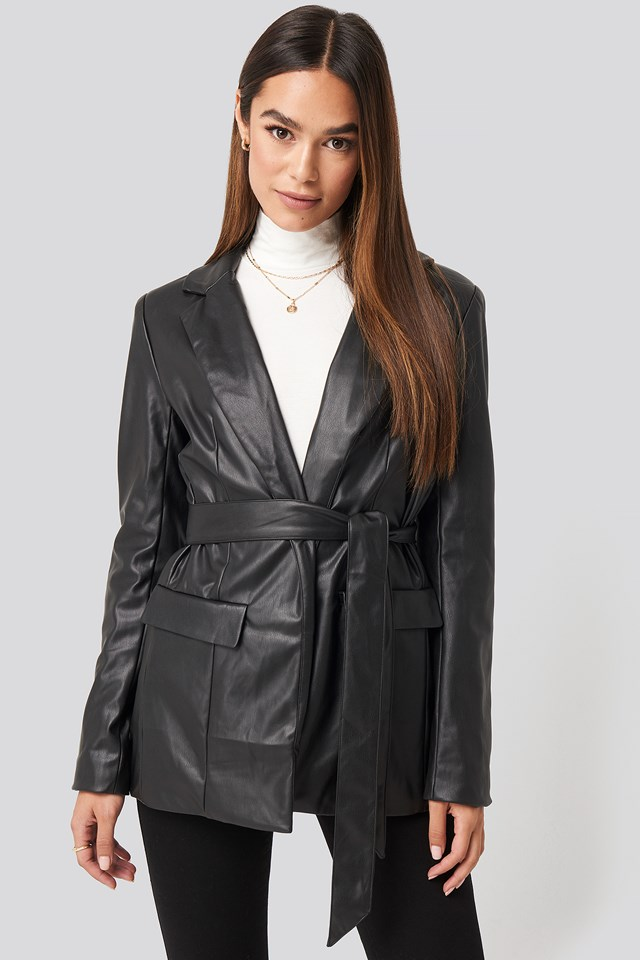 Tied Front Faux Leather Blazer Black