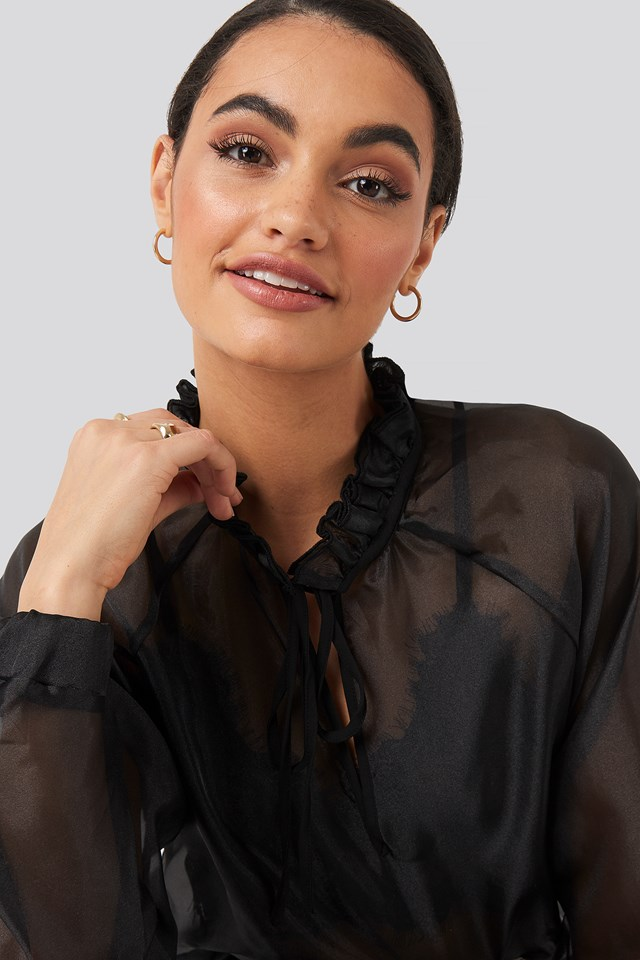 Tied Front Organza Blouse Black