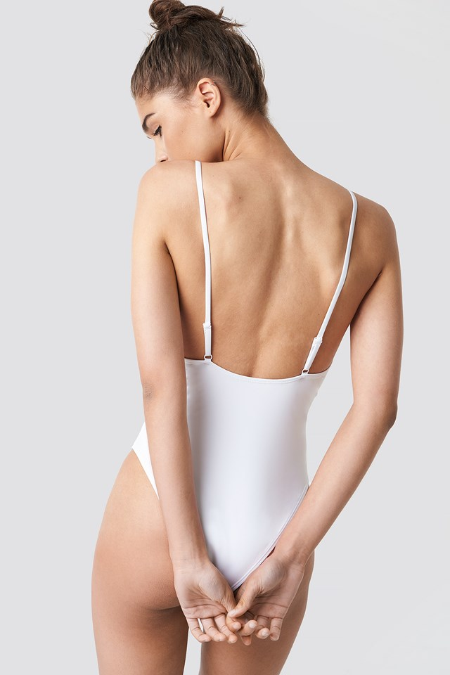 Tied Front Swimsuit White