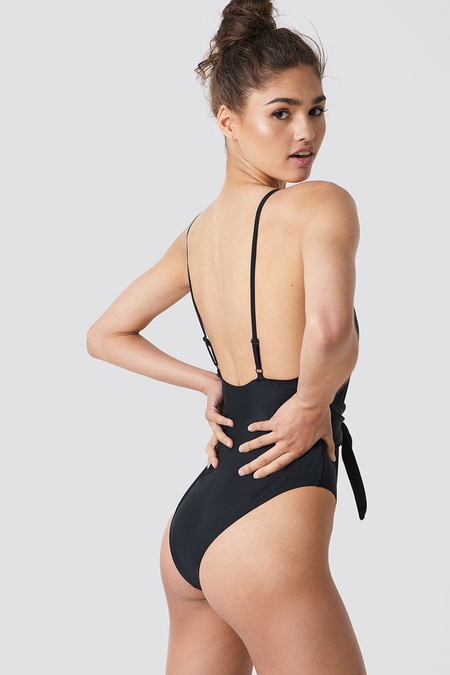 Tied Front Swimsuit Black