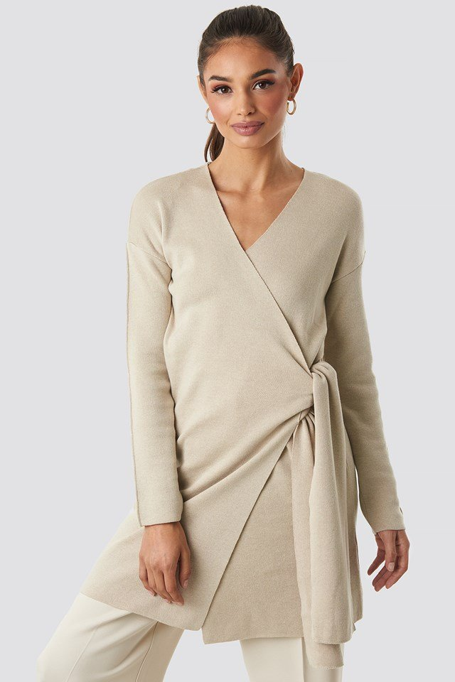 Tied Overlap Knitted Cardigan Beige