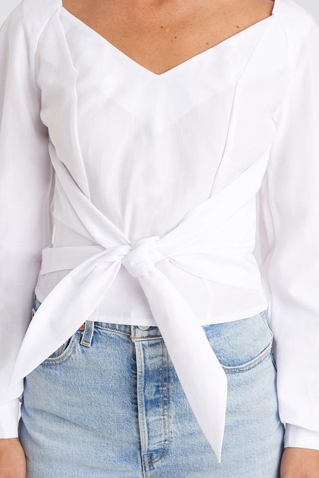 Tied Waist Puff Sleeve Blouse White